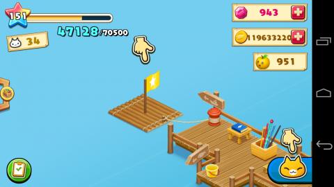 ほしの島のにゃんこ、いかだに乗って釣り